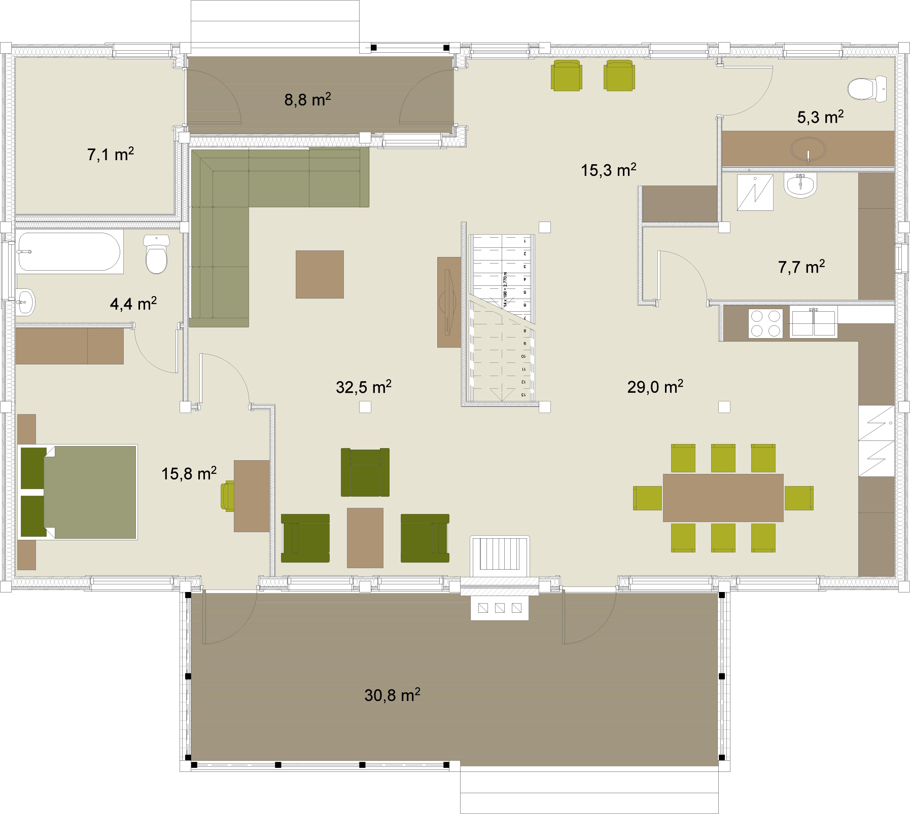 Artic Frame 263 wooden house floorplans