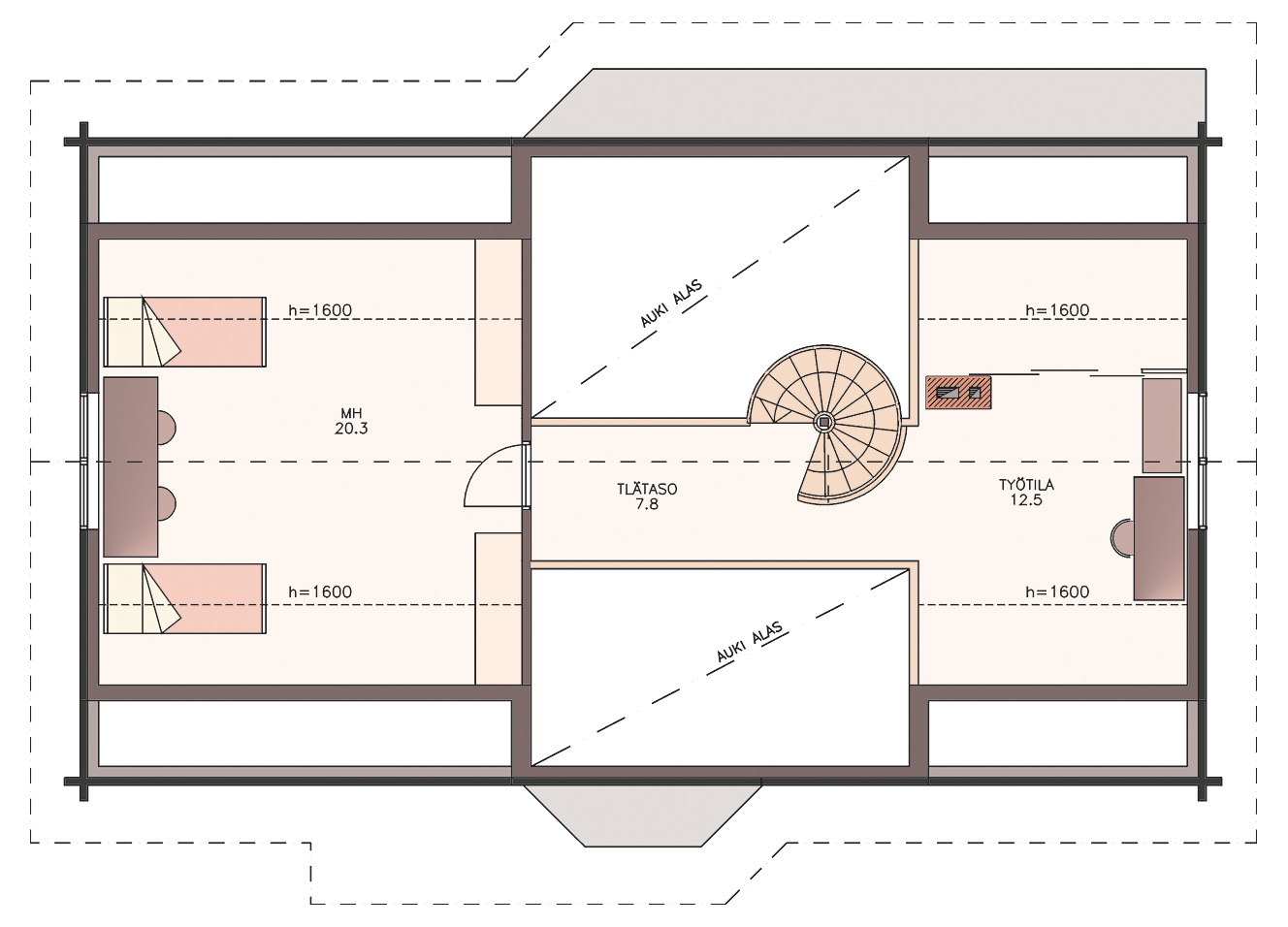 Artic 176 log home floor plan