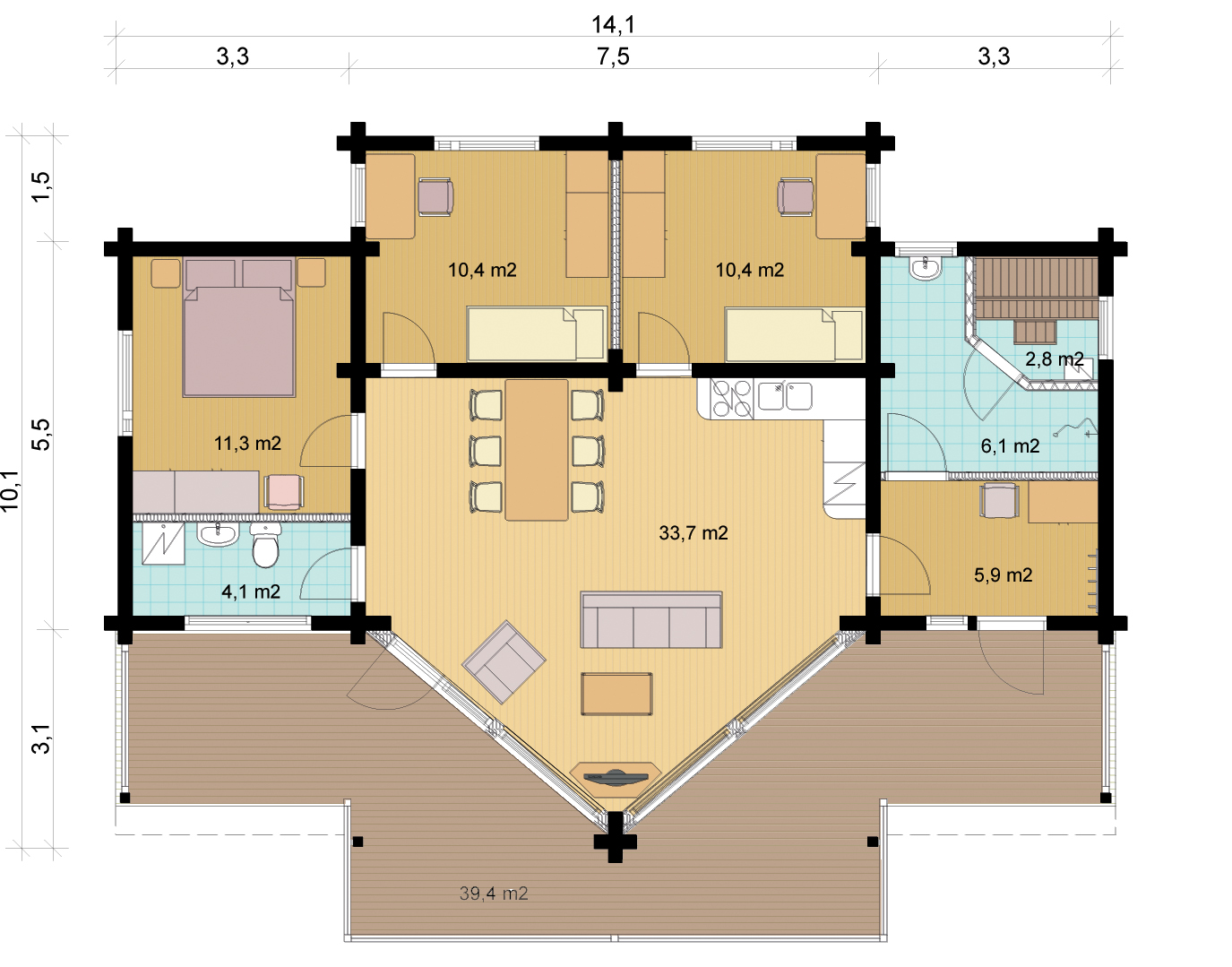 Tunturi 139 Wooden House Layout