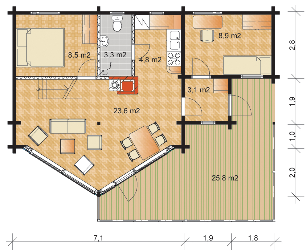 Tunturi 131 Timber Home Floorplans