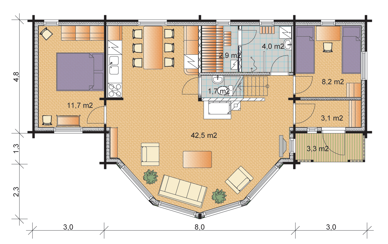 Tunturi 111 Timber House Floorplans