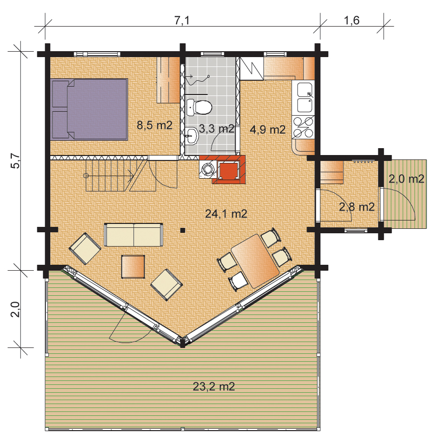Tunturi 103 Timber Home Floorplan