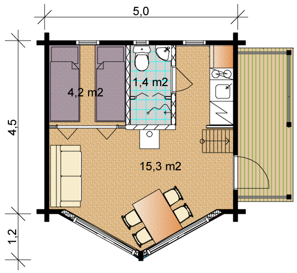 Tunturi 45 Timber House Floorplan